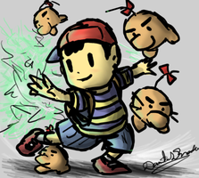 Ness and Mr Saturn by nintendo-jr