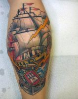 ship anchor tattoo by mojoncio