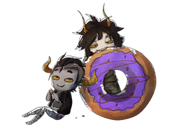 Gam and Tav eating a donut? by HauntedWeeaboo