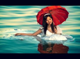 Floating Girl wth Red Umbrella by shayne-gray