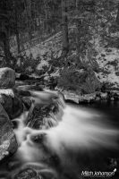 White Falls Off the Rocks BW by mjohanson