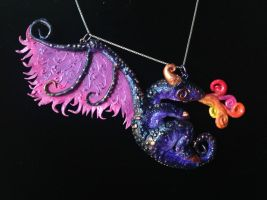 Purple Dragon Pendant by omfgitsbutter