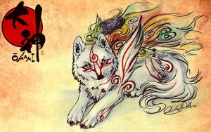 Wallpaper.Okami.:.Shiranui. by WhiteSpiritWolf