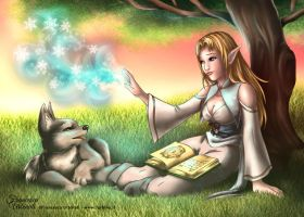[Commission] Sylmaril (elf) and Fanyar (wolf) by nime080