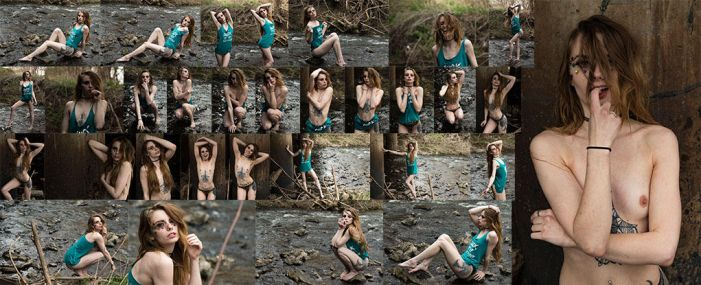 Heather Renee strips outdoors stock photos 21x by IMKamera