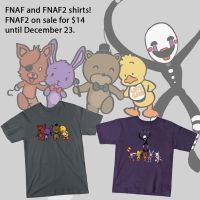 FNAF and FNAF2 shirts! by joshthecartoonguy
