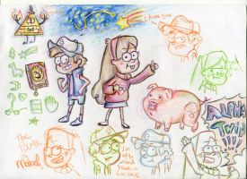 Dipper and Mabel sketches! by lupus-miles