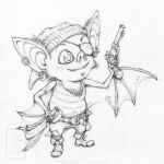 Pip the Cabin bat linework by yvash