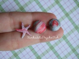 Sea Shell and Starfish Earrings 2 - Silver, Red by FunkadelicPsychoFish