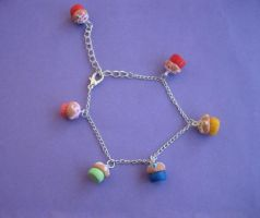 Colorful Cupcake Bracelet by ClayMyDay