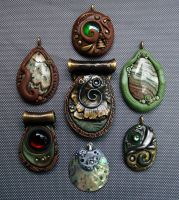 Polymer Clay Pendants Natural Group by MandarinMoon