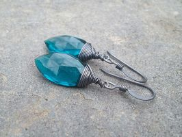 Teal Quartz Earrings by QuintessentialArts