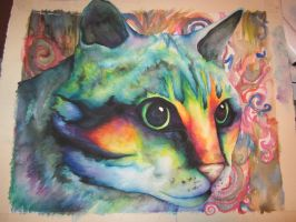 Watercolor Cat by nicolelucille