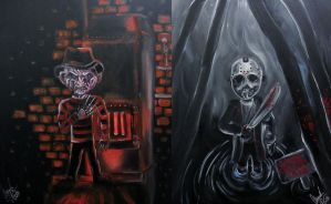 Freddy VS Jason (Mini) by AmandaPainter87