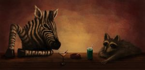 the zebra and the raccoon by greensandsguy
