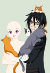Black Butler- Sebastian and Oc with Cats :Collab: by TFAfangirl14