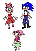 Amy and Sonic as Ariel and Eric by purplekatz93
