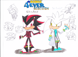 Shadow & Silver in My Redesign by sonic4ever760