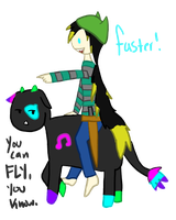Riding Magical Music Neon Sparkle Cows by Silvaina