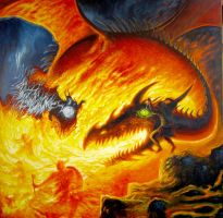 The dragons battle by Wideen