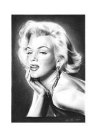Marilyn Monroe II charcoal drawing by Art-SamiKahelin