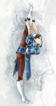 Chun-li stretches by CHA-SOBA