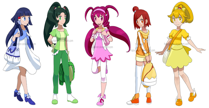 Smile! Precure as Pokemon trainers by Hapuriainen