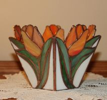 Tulip Vase in Stained Glass by lenslady