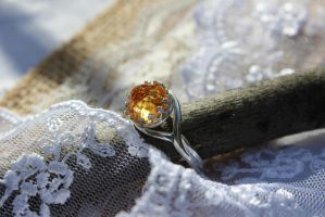 Citrine Ring Natural Gemstone Rose Cut in SS by artistiquejewelry