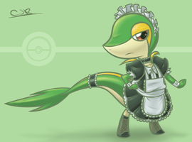 Snivy Maid by X-Cross
