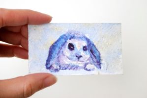 Tiny Watercolor Bunny Painting by brandimillerart