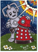 Cyberman and Dalek BFF by beckadoodles