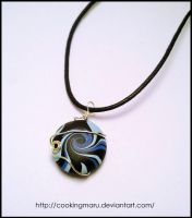 Spiral Black and Blue Pendant by CookingMaru