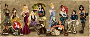 Steampunk Disney Princesses 2.0 by HelleeTitch