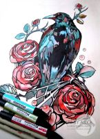 Tattoo sketch. Crow. by AsikaArt
