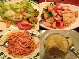 Salad, Hummus, Spaghetti, and Dessert by rcmacdonald