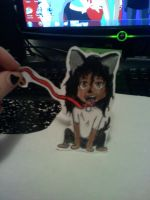 mj paperchild on his dog leash by Dark7Priestess7Kikyo