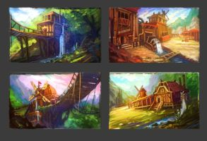enviroment sketches by T-H-U-R-S