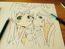 Gumi and Len WIP by DragoRaven