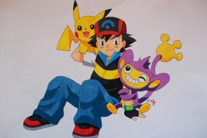 Ash, Pikachu and Aipom by SakakiTheMastermind