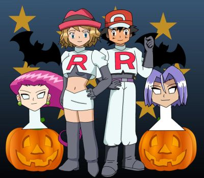 Serena and Ash disguise to Jessie and James by StuAnimeArt
