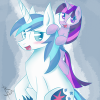 Shining Armor and Filly Twilight Sparkle by BlacksWhites