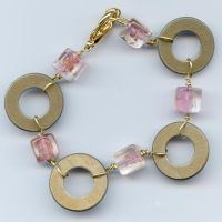 Gold and Pink Wire Bracelet by webgoddess