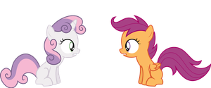 Sweetie Belle and Scootaloo by Fukaketsu