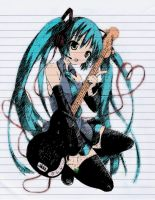 miku and her guitar by GDMonster