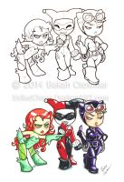 Indiana Comic Con Commissions - Gotham Gals by ExiledChaos