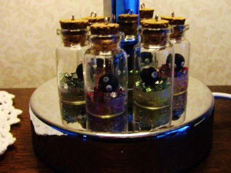 Feeding time with pet soot sprites in jars by chaobreeder16