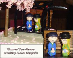 Kimono Tea House Cake Toppers by YellerCrakka