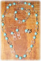 Turquoise Pearl Set by LadyAriessTemptra