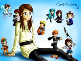 me and the chibis XD by lorellashray